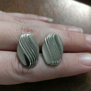 Silver Tone Engraved Cufflinks